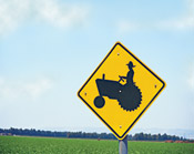Tractor road caution sign, cover artwork for May 2006 Sound Consumer