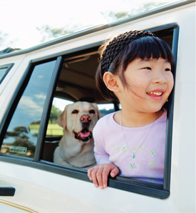 girl with dog in car