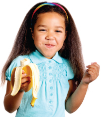 kid eating banana