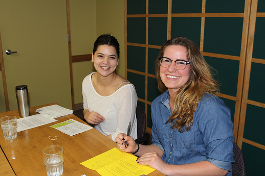 (l-r) Hadassah Jordan and Emma Spurlock were among those who counted ballots at the May 19 meeting.