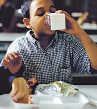 Child in cafeteria