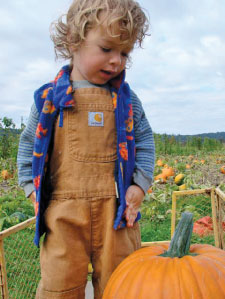 chlid in pumpkin patch