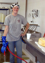 Volunteer Konni Miller at the Golden Glen Creamery