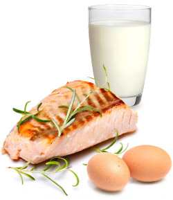salmon, milk and eggs