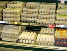 Eggs on a shelf at a PCC store.