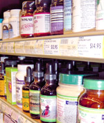 Supplements on a shelf, health and body care products