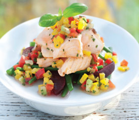 corn salsa over fish