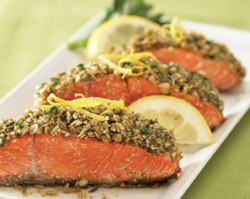 Chipotle and Pumpkin Seed-crusted Medallions of Wild Salmon