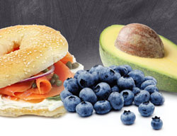 salmon, blueberries and avocados