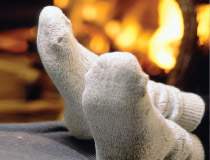 feet up near fireplace