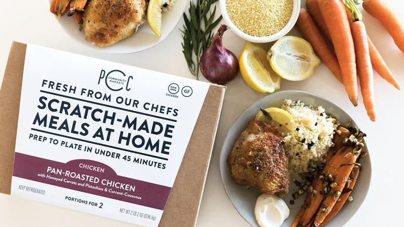 pcc meal kits box and ingredients