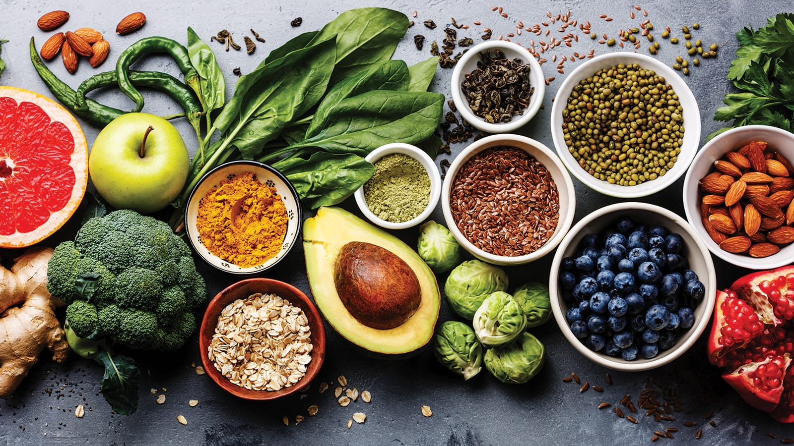 Healthy fruits, vegetables, greens, grains and nuts.