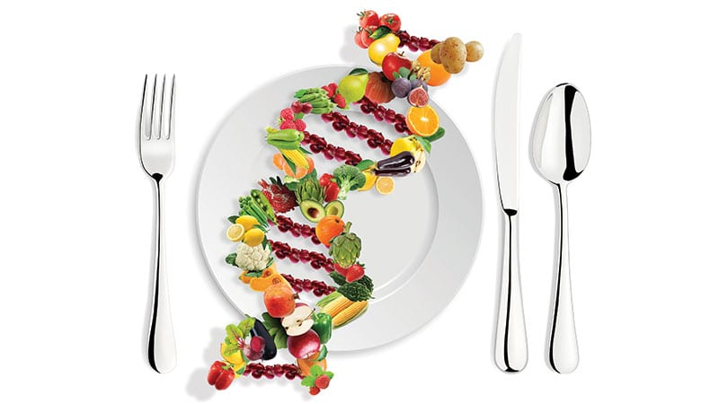 Abstract concept of DNA double helix made out of food.