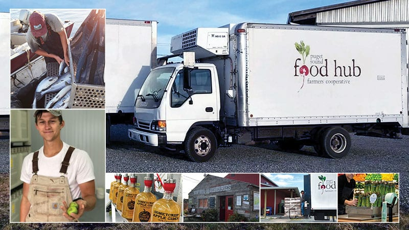 Man emptying salmon catch into crates. Man at Sauk Farm holding apples. Apple cider being bottled. Bow Hill blueberry farm stand. Food hub truck loading up crates. PCC employee stacking up asparagus. Photos courtesy of Puget Sound Food Hub.