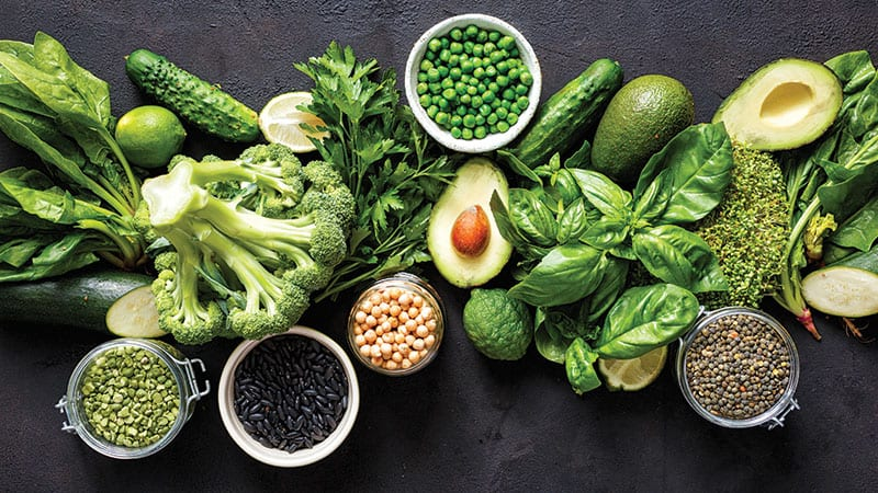 Healthy green foods variety
